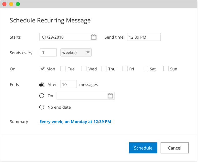 Recurring Messages in Outlook