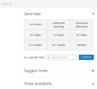Schedule emails to send later, email reminders and smart